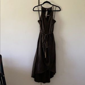 Olive Faux Wrap Dress w/ Tassel Belt